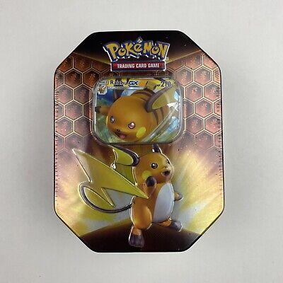 Pokemon TCG Hidden Fates Raichu GX Tin 4 Booster Packs Factory Sealed IN HAND