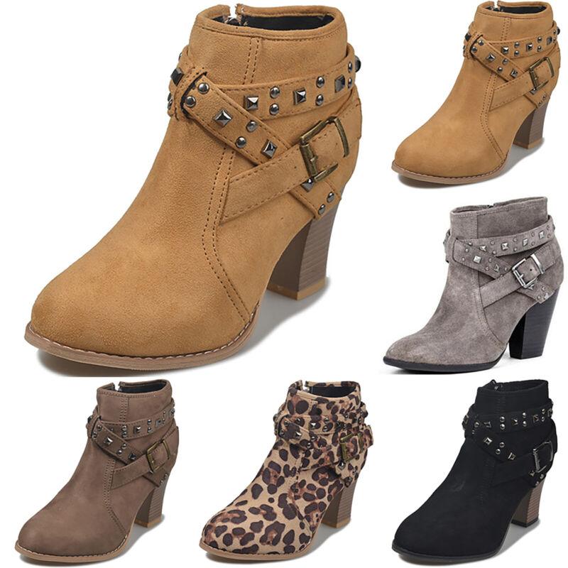 Damen Stiefel Blockabsatz Stiefeletten Nieten Schnalle Ankle Boot Schuhe Booties