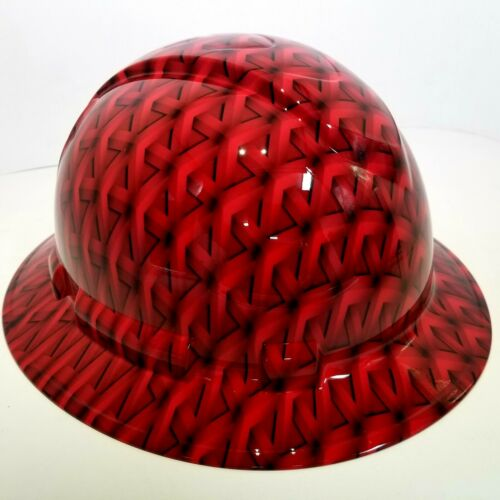 FULL BRIM Hard Hat custom hydro dipped, NEW RED GEO ACID TRIP RATCHET SUSPENSION 1