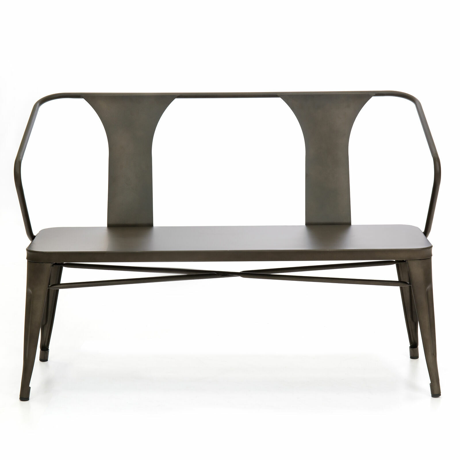 2 Person Industrial Vintage Style Metal Bench Loveseat Outdo