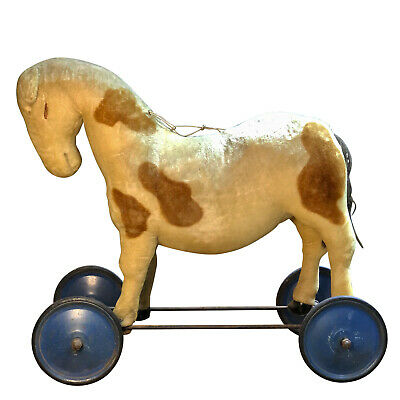 Antique Large Ride of Pony Horse on Wheels by Steiff