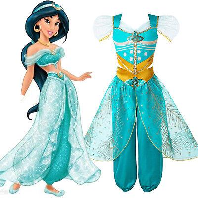Mädchen kinder kleid Prinzessin Jasmin pailletten tüll blaugrün cosplay (Blaue Pailletten Prinzessin Kostüm)