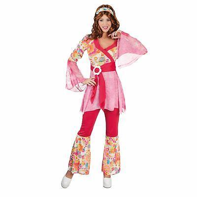 Damen Rosa Hippie Happy Diva UK 8-10 Tanzende Karneval Königin Kostüm Kostüm