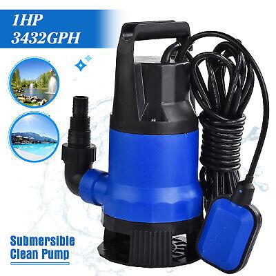 1hp 3432gph Submersible Dirty Clean Water Pump Swim Pool Pond Flood Drain 750w