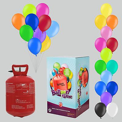 Helium Ballongas Set mit 30 Luftballons und Bänder Balloon Time Farbe nach Wahl