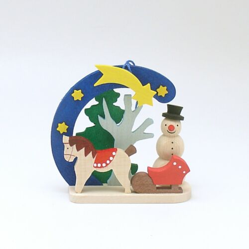 Christmas Ornament Wood Snowman Germany Erzgebirge