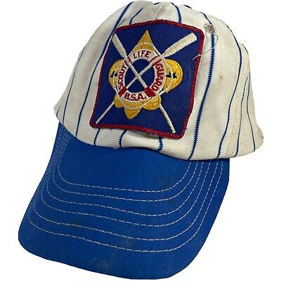 1950s Mens Hats | 50s Vintage Men's Hats 1950's B.S.A. Boy Scout Life Guard Patch Ball Cap Blue And White Striped $19.99 AT vintagedancer.com