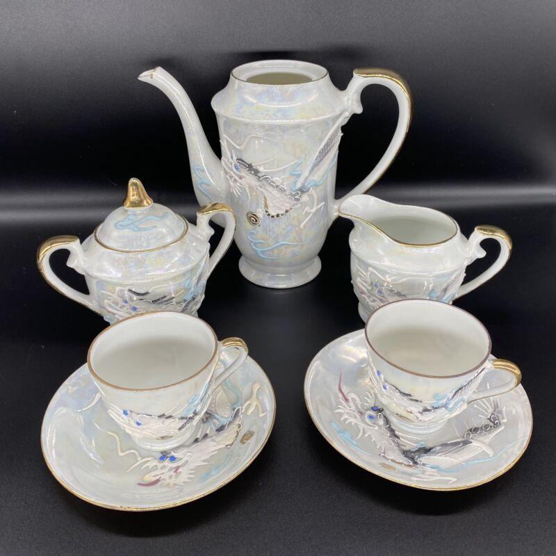 Vintage Moriage Dragonware white blue eyed 2 person tea set with lithopane