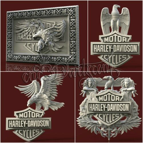 4 3D STL New Harley Models for CNC Router Carving Machine Artcam aspire