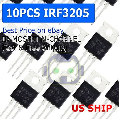 10pcs Irf3205 Ir Mosfet N-channel 55v110a To-220 Hexfet Power Transistor Irf