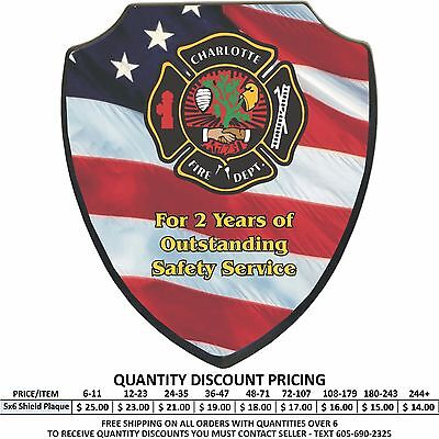 (Custom 5x6 Wood Shield Award Plaques Personalized Color Print Police Firefighter)