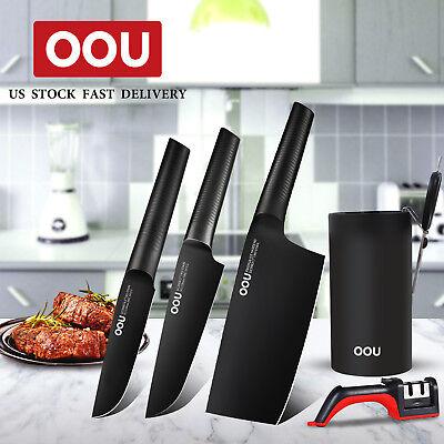OOU 6pcs Kitchen Stainless Steel Chef Knife Set Scissor Sharpener Storage Holder