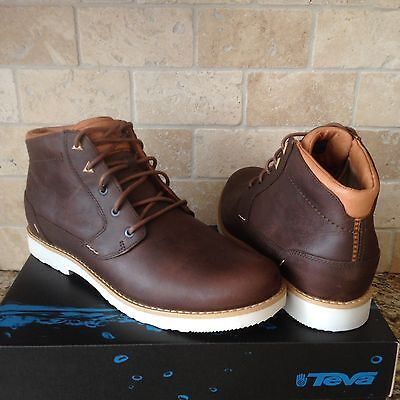 TEVA DURBAN BISON LEATHER ANKLE BOOTS LACE-UP SHOES SIZE US 12 MENS NEW