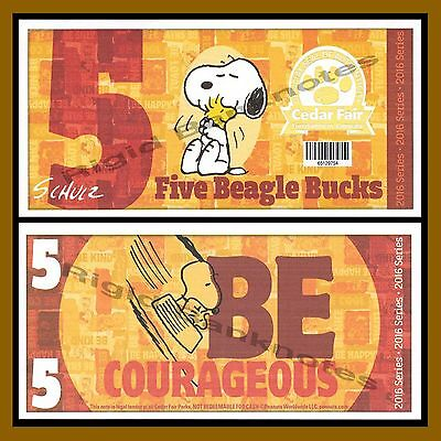 Cedar Fair 5 Beagle Bucks  2016  Peanuts Snoopy  Like Disney Dollar