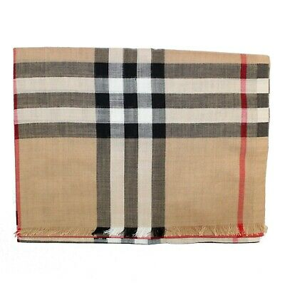 100% Authentic Burberry Giant Check Gauze Scarf Wool/Silk
