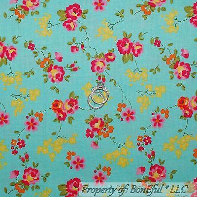 BonEful Fabric Cotton Quilt Aqua Blue Yellow Pink Flower Shabby Chic Girl SCRAP - $1.24