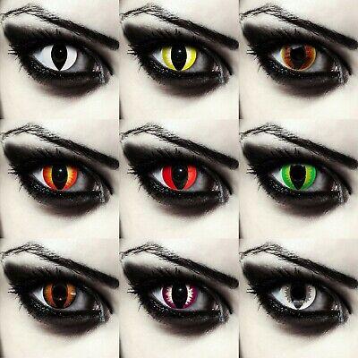 Farbige Katzenaugen Kontaktlinsen Karneval Halloween Kostüm blau grün - Weiße Augen Kontakte Kostüm