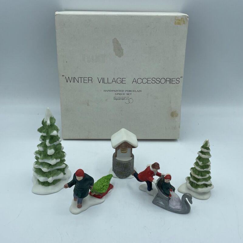 Vintage Department Dept 56 New England Village Winter Accessories 5 Piece Set