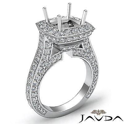 - Cushion Diamond Engagement Ring Halo Pave Set 2.1 Carat Semi Mount Platinum 950