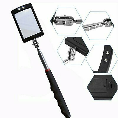 Inspection Mirror LED Lighted Mechanic Telescoping illuminate Swivel Extendable Hand Tools