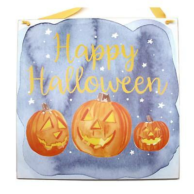 Happy Halloween Jack-O-Lantern Wood Sign Hanging Traditional Home Decoration](Halloween Jack O Lantern Tradition)