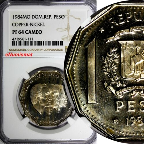DOMINICAN REPUBLIC PROOF 1984 MO 1 Peso NGC PF64 CAMEO Human Rights KM# 63.1