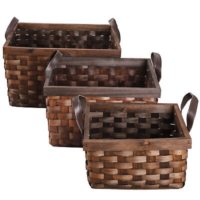 3Pcs Wicker Rattan Woven Storage Bin Basket Food Fruit Container W/ Leather - Wicker Storage Baskets