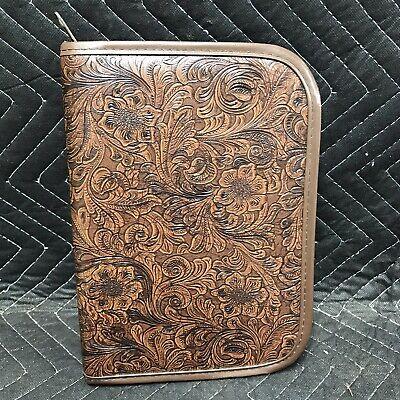 Vintage Leather Folder Organizer Case Binder Planner Folio Portfolio 10 X 7