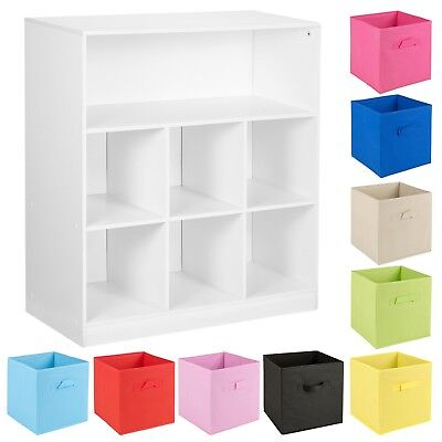 Wooden Wide 7 Cubed Cupboard Storage Units Shelves With 6 Drawers Baskets NEW
