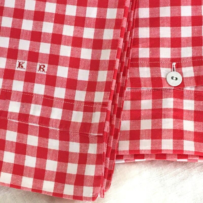Vintage European Duvet Cover Red and White Check Initials KR