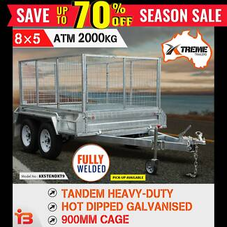 New XTREME 8x5 Tandem Galvanised Box Trailer With 900mm Cage Fairfield Fairfield Area Preview