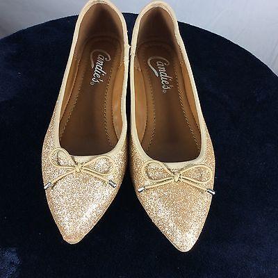 New Candies Womens Sz 6 Cabolero Metallic Flat Ballet Shoes Gold Glitter