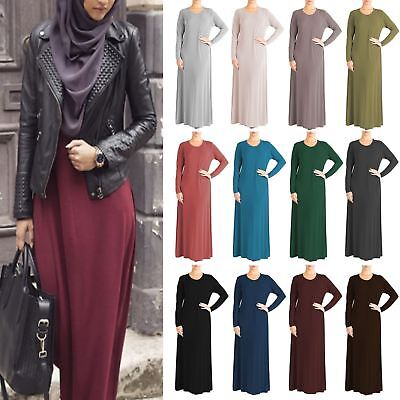 Womens Plain Abaya Islamic Burkha Kaftan Farasha Jilbab Ladies Long Maxi Dress