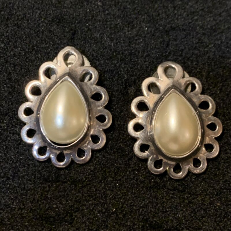 Vintage Sterling Silver Earrings Faux Pearls Pierced Signed Stamped