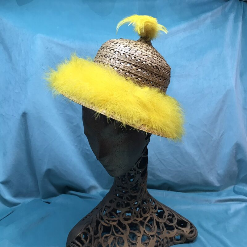 vintage straw hat Happy Cappers Beach Yellow Feathers 6 3/4 Novelty 50s 60s Old