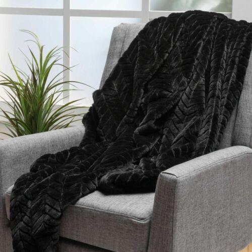 Tuscan Black Fur Fabric Throw Blanket Afghans & Throw Blankets