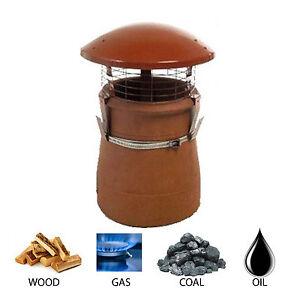 CHIMNEY POT RAIN COWL/CAP FOR WOODBURNER LOGBURNER MULTIFUEL STOVE TERRACOTTA