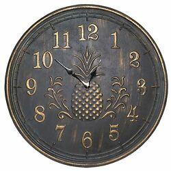 24 Pineapple Decorative Wall Clock, New Home Decor Rustic Gold Tinged Finish