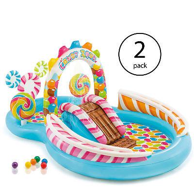 Intex Kids Inflatable Sweets Zone Swim Kids Splash Pool with Waterslide (2 Pack)