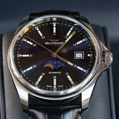 Glycine Swiss Automatic with date and moon phase complication and black leather