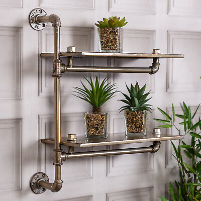 Gold Industrial Pipe Wall Shelf Rustic Storage Vintage Display Cabinet Home