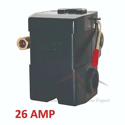 Pressure Switch Control Air Compressor 90-125 1 Port Heavy Duty 26 Amp