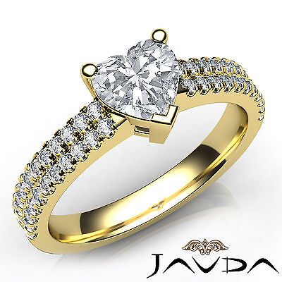 French U Pave Heart Diamond Engagement Yellow Gold Ring GIA Certified G VS1 1Ct