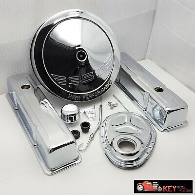 SB Chevy Chrome engine dress up kit TALL Valve covers Air cleaner Timing 350 ()