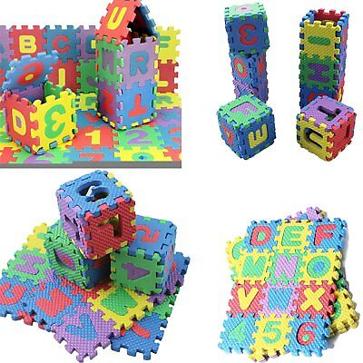 (36 Blocks Puzzle Mat Learning ABC Alphabet Study Kids Letters Floor Play Toy FH)