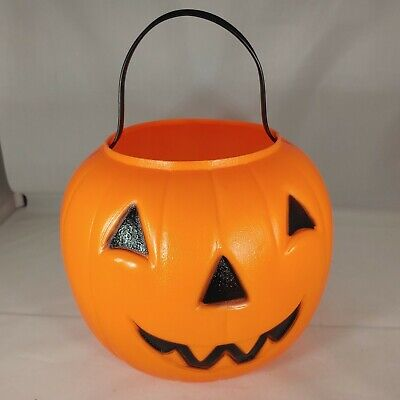 Empire Halloween Pumpkin Candy Trick Or Treat Bucket Plastic Blow Mold Vtg