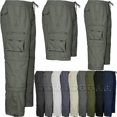Mens Combat Cargo Work Trousers Elasticated Waist Pant 3 in 1 Zip Off 3/4 Shorts