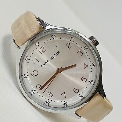 Anne Klein Bigger Face Womens Silver Tone Beige Croco Leather Watch AK/2563 RUNS