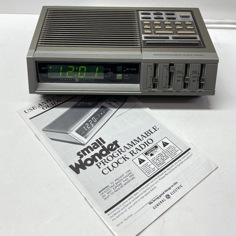 Vintage GE Digital Alarm Clock AM/FM Radio w/ Manual 7-4875A