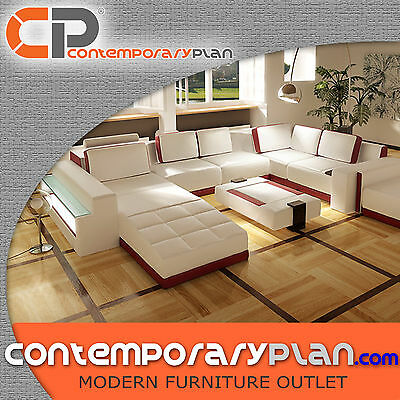 - Contemporary Living Room Sectional Sofa Set with Table and Ottoman, Miami Style
